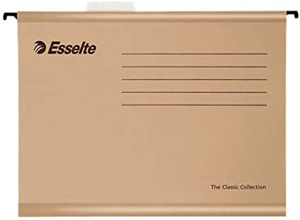 Esselte 93291 Classic - Carpeta colgante reforzada, Tamaño folio, Cartón kraft reciclado, Visor de plástico transparente, Natural, Caja de 50