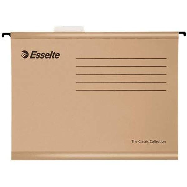 Esselte 93291 Classic - Carpeta colgante reforzada, Tamaño folio, Cartón kraft reciclado, Visor de plástico transparente, Natural, Caja de 50: Amazon.es: Oficina y papelería