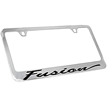 FORD ESCAPE Chrome Plated Brass License Plate Frame with 2 Black Caps AUTHENTIC