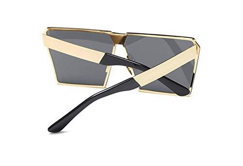 Viso Metal de de Personalità Cara Sol cuadradas Gris Gafas polarizador Negro Grande Dorado de Moda Gafas Marco Montura Sol liwenjun Pieza wg16YXq