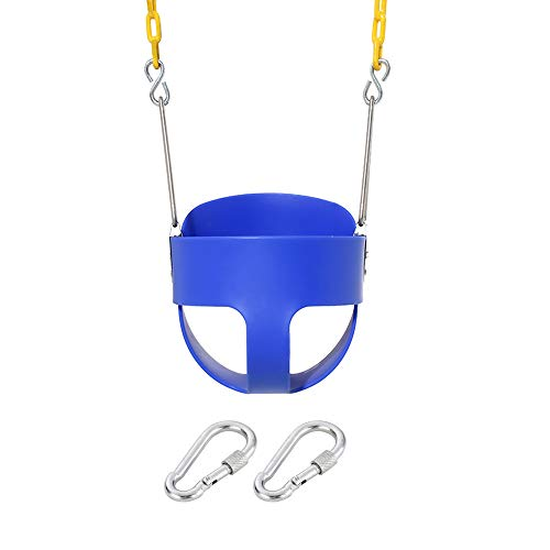 (Naughty Jungle High Back Full Bucket Toddler Swing Set Accessories with Yellow Coated Swing Chains Fully Assembled - Heavy-Duty Swing (Blue))