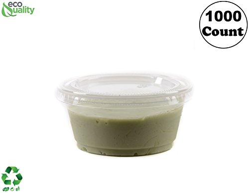 3.25 Ounce Clear Plastic Disposable Portion Cups with Lids 1000 Pack by EcoQuality, Jello Shot, Souffle Cups, Condiments, Sampling Cups, Complements (3.25 oz) ()