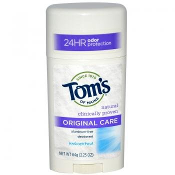 Tom's of Maine 24 Hour Original Care Deodorant Stick, Unscented - 2.25 oz - 2 pk
