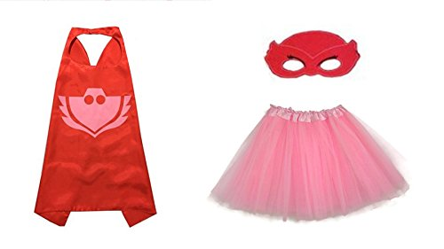 [Rush Dance Kids Children's Deluxe Comics Super Hero CAPE & MASK & TUTU Costume (PJ Masks Amaya/Owlette (Pink] (Pj Mask Costume)