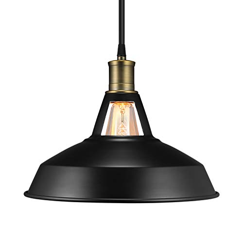 Salking Metal Industrial Pendant Light, Vintage Barn Hanging Lamp, Modern Iron Pendant Lighting, Oil Rubbed Black Finish, Ceiling Light/Dining Room Lamp - 1 Pack