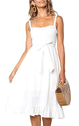 (Angashion Women's Dresses - Summer Boho Floral Spaghetti Strap Belt Swing A line Midi Dress 119 White S)