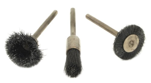 Forney 60241 Wire Bristle Brush Set, 1/8-Inch Shank, 3-Piece