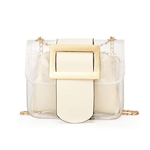 Clear Handbags 2-in-1 Tote Transparent Shoulder Bag Fashion Shoulder Crossbody Purse,White