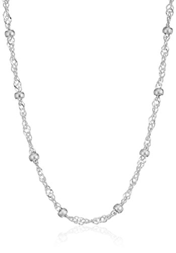 Amazon Essentials Sterling Silver Singapore Bead Chain Station Necklace, 14