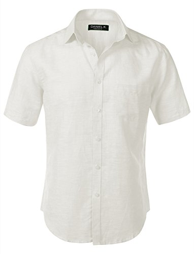 7Encounter Men's Slim-Fit Linen Short Sleeve Shirt White Size L ()
