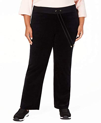 (Charter Club Plus Size Velour Drawstring-Waist Pants (2X) Deep Black)