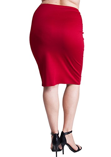 Woman Dark Red Plus Size Banded Waistline Pencil Skirt