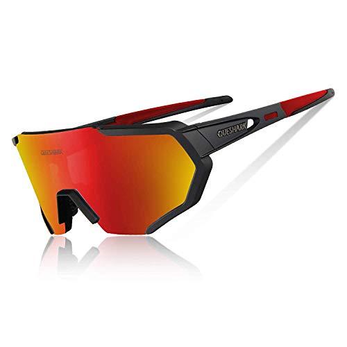 Queshark Gepolariseerde uv-veiligheidsbril met 3 of 5 glazen voor fiets, mountainbike, vervangbaar, voor sport, heren…