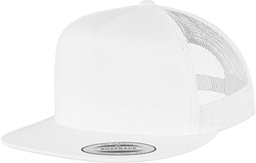 Cap Trucker White (Flexfit Adjustable Snapback Classic Trucker Hat 6006 (White))
