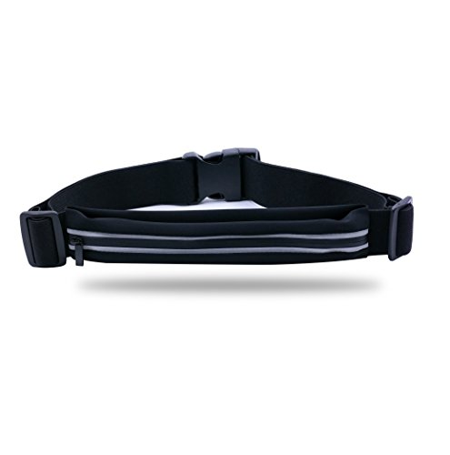 Home-organizer Tech Waterproof Running Waist Pack Running Pouch Belt Running Belt for Runners, Joggers, Pet owners to Hold Keys, Phone and Valuables While Keeping You Visible Safe (Black)