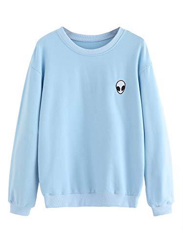 SweatyRocks Womens Casual Long Sleeve Pullover Sweatshirt Alien Patch Shirt Tops