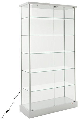 Displays2go Full Vision Lighted Cabinet, Laminated MDF, Aluminum & Tempered Glass Build – Silver Finish (193CPLEDSL) by Displays2go