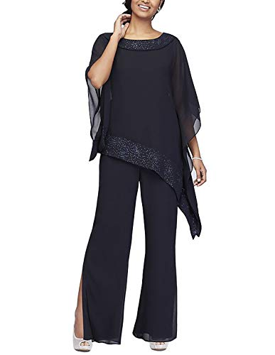 Women's Elegant Chiffon 3 Pieces Pant Suits Set Mother of The Bride Dresses with Outfit Wedding Party Plus Size(Dark Navy,US22 Plus)