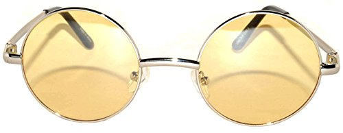 Round Sunglasses Yellow Lens Silver Metal Frame