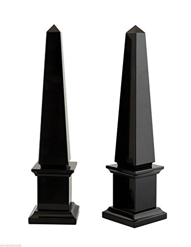 COPPIA OBELISCHI in Marmo Nero Art Black Marble Couple Obelisk Classic Home Design H 40 cm (Black Marble Obelisk)