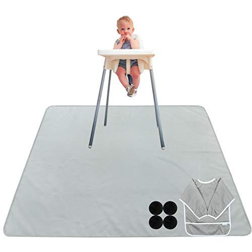 Paw Legend Washable Highchair Splat Floor Mat- Anti-Slip Silicone Spot Splash Mess Mat(53'' X 53'')-Food Catcher Art Craft Leak Proof Mat,Grey