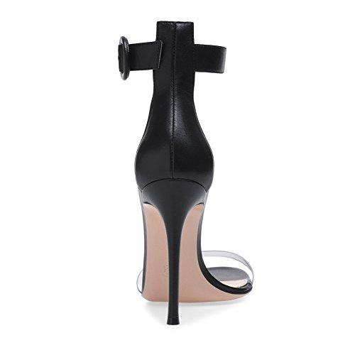 Femme TLJ Ronde Grande De Club Plateforme De 071 45 Sandales Haut Sexy Soirée KJJDE Mode Transgenre Boucle Fête Mariage Talon Black Taille XZ8wdq