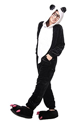 Panda Animal Pajamas for Women Men Adult Onesie Unisex Sleepwear Halloween Cosplay Costume (S, Black)]()