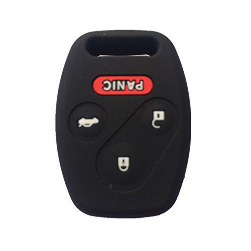 Black Silicone Rubber Keyless Entry Remote Key Fob Case Skin Cover Protector for Honda 3+1 Buttons (Accord Entry 2009 Keyless Honda)