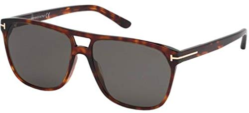 (Tom Ford FT0679 Havana/Smoke Lens Solid Polarized Sunglasses)