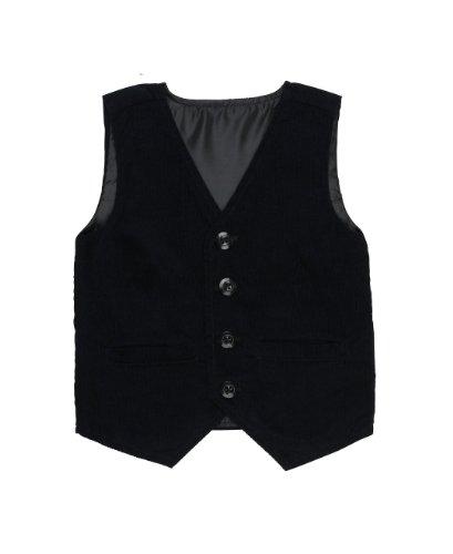 RuggedButts® Little Boys Black Dressy Corduroy Formal Vest - Black - (Black Sweater Vest For Boys)