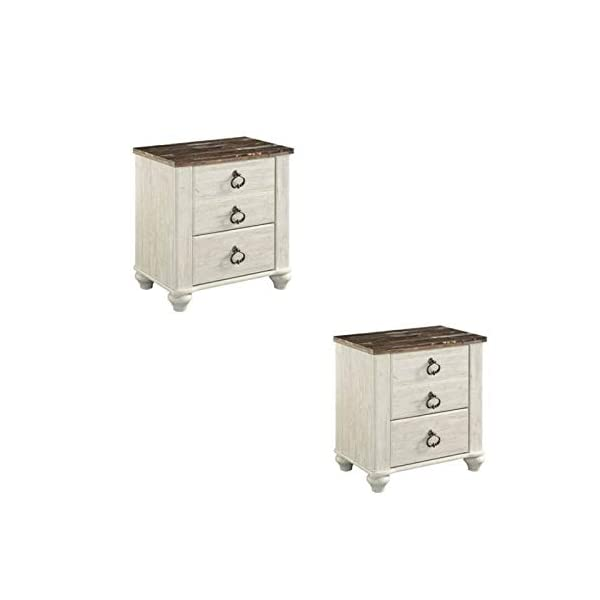 Home Square Set of 2 Rustic Nightstand in Two Tone