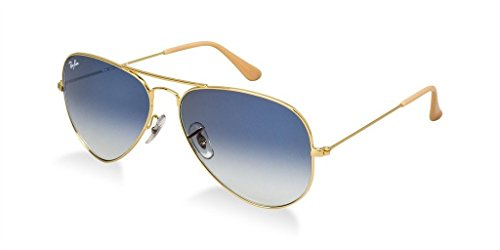 Ray Ban Gray Lens (Ray Ban RB3025 001/3F 58 Gold/Gradient Light Blue Large Aviator Bundle-2 Items)