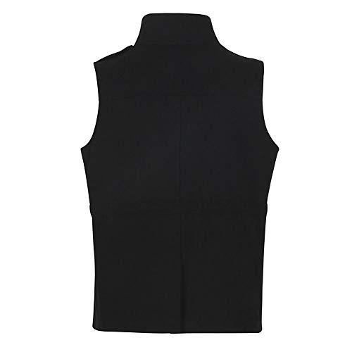 Sans Décontracté Élégant Eclair Couleur Fermeture Unie Mode Femmes Polyester Noir Manteau Veste Gilet De Bouton Poche Manches q6Pnxzw4