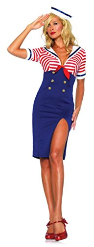 Deckhand Costume (Leg Avenue Womens Deckhand Diva Naval Sailor Outfit Fancy Dress Sexy Costume, M/L (10-14))
