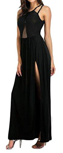 Up Swing Mesh Side Waist Elastic Lace Cromoncent Slit Long Womens Dress Black Backless Yq6zA1A