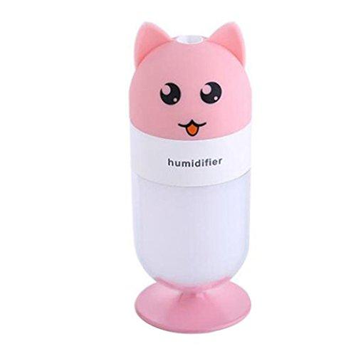 Inkach Cool Mist Humidifier, Cute Fox Shaped LED Lamp Humidifier Air Diffuser Purifier Atomizer (Pink)