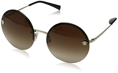 Versace Women's Round Medusa Sunglasses, Pale Gold/Brown, One ()