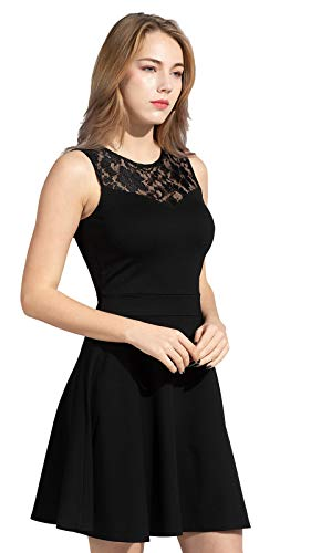 Sylvestidoso Women's A-Line Pleated Sleeveless Little Cocktail Party Dress with Floral Lace 15