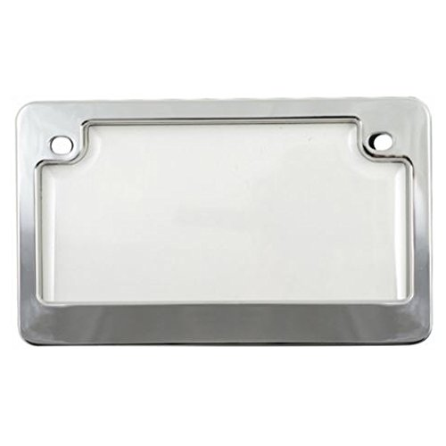 Custom Combos 92777 Clear Unbreakable Motorcycle License Plate Shield and Frame Combo with Chrome Frame ()