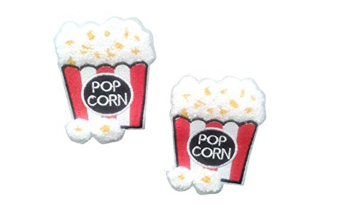 2 pieces Popcorn SEW ON Patch Applique Motif Children Decal 3.3 x 2.7 inches (8.3 x 6.8 cm)