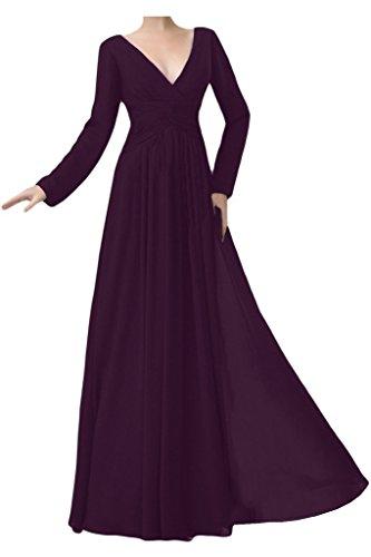 Ange Mariée Simple Robe Maxi Soir En Mousseline De Soie Col V À Manches Longues Robes De Mariée Mère De Raisin