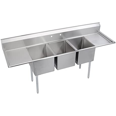 Standard 3 Compartment Sink 24 Left Right Drainboards