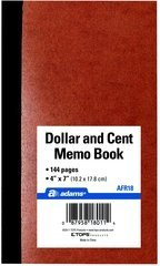 Adams AFR18 Dollar and Cent Memo Book. 7 in x 4 in , 144 Pages