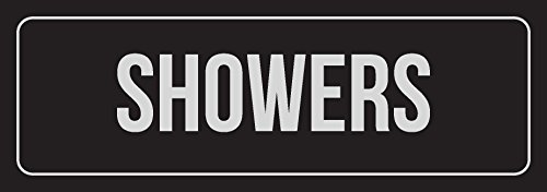Black Background with Silver Font Showers Office Business Retail Outdoor & Indoor Plastic 3 x 9 Wall Sign - Single ()