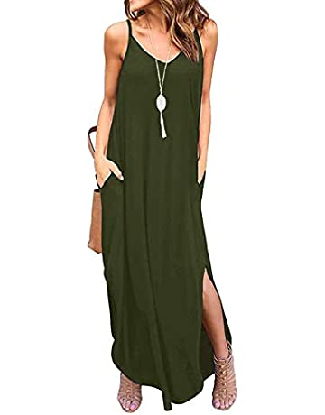 c953c9581fd8f coscoach Women's Summer Casual Strappy Long Dress Loose Beach Cami Split Maxi  Dress with Pocket