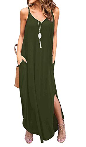 Sleeveless Strappy Cami Maxi Long Dress V Neck with Pockets Casual Summer Beach Skirt Cover Up Backless Side Slits Loose Solid Color for Women Green -