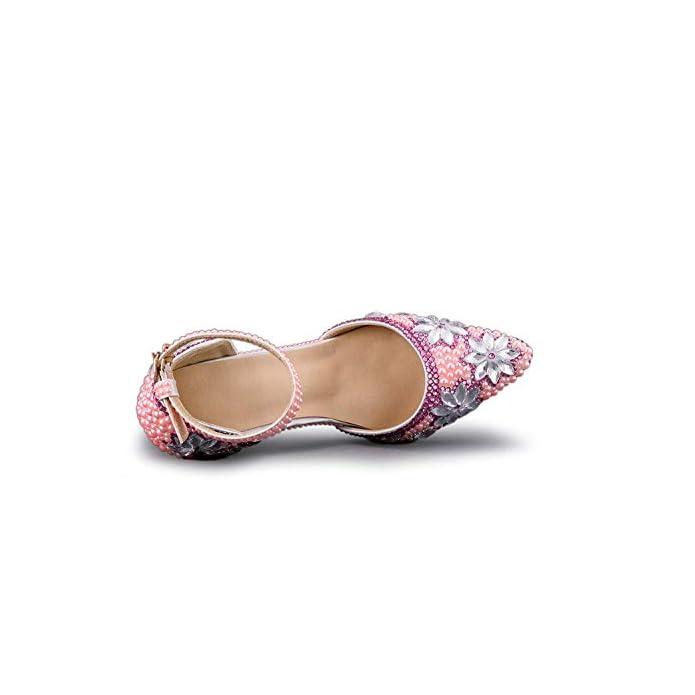 - Dimensione Borchie Caviglia Donna Tacco Con - colore Qiusa 5 Sposa Rosa Alla Da Jem Uk Cinturino Scarpe Alto 7