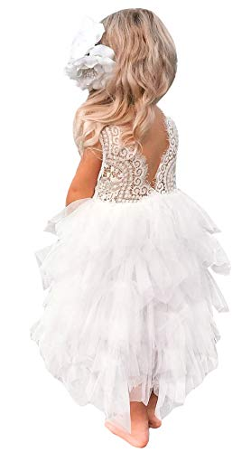 2Bunnies Girl Beaded Peony Lace Back A-Line Tiered Maxi Tutu Tulle Flower Girl Dress (White Maxi Bead, 6) -