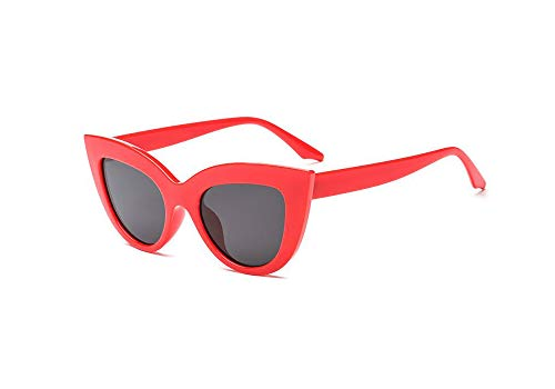 Vintage Retro Cateye Sunglasses for Women Bold Colorful Cat Eye UV400 Protection (Red, -