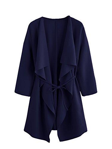 Romwe Women's Raw Cut Hem Waterfall Collar Long Sleeve Wrap Trench Coat Cardigan With Pockets Navy (Pocket Trench)